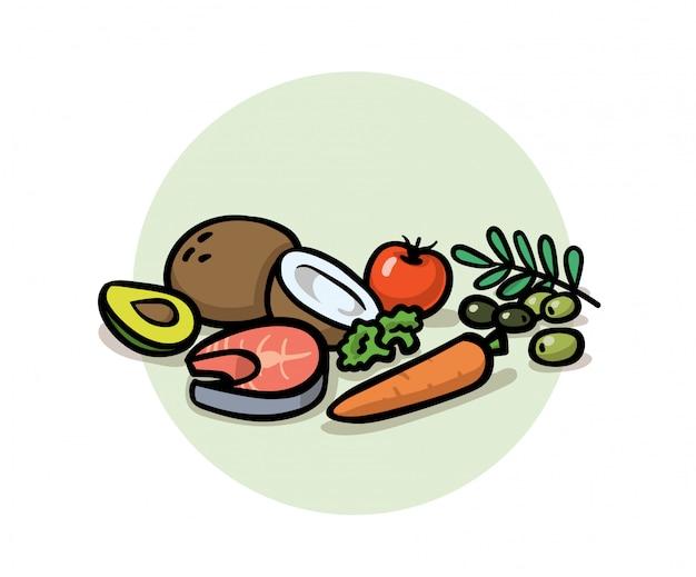 Gesundes ausgewogenes essen. superfoods, entgiftung, ernährung, gesundes essen. kokosnuss, karotte, oliven, avocado und fisch. cartoon-symbol. illustration. auf weißem hintergrund.