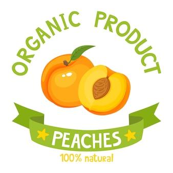 Gesundes bio-früchte-abzeichen von frischem pfirsich mit bandfahnen isoliert auf weißem hintergrund. vektor-illustration des cartoon-etiketts für zeitschriften, poster, menüs, webseiten.