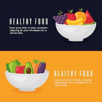 Gesundes essen frisch banner festgelegt