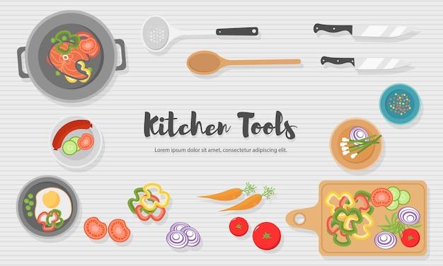 Gesundes essen in der küche kochen. nützliche mahlzeit auf holztisch. gesunde ernährung, gemüse. draufsicht illustration des küchenutensils, schneidebrett mit messer, geschirr, teller und verschiedenen lebensmitteln.