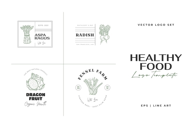 Gesundes essen logo vorlage handgezeichnete illustrationen für restaurant