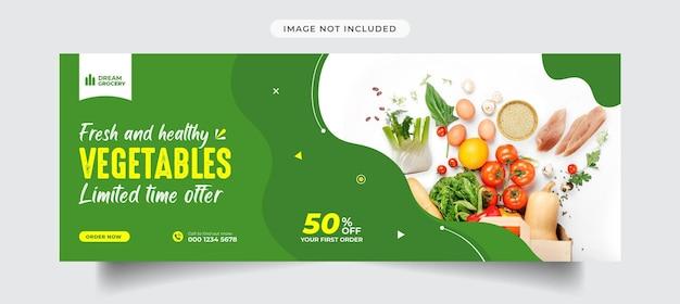 Gesundes essen menü facebook-cover und social-media-banner-vorlage