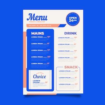 Gesundes essen restaurant menü stil