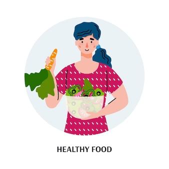 Gesundes essen und essen banner mit frau essen frischen salat und gemüse, flache illustration lokalisiert auf weißem hintergrund. avatar für diät und gesunde speisekarte.