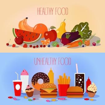 Gesundes essen und ungesundes fast food