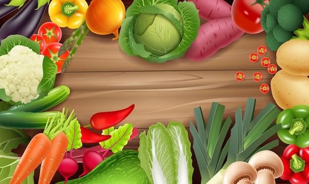 Gesundes frisches gemüse auf rustikalem holz