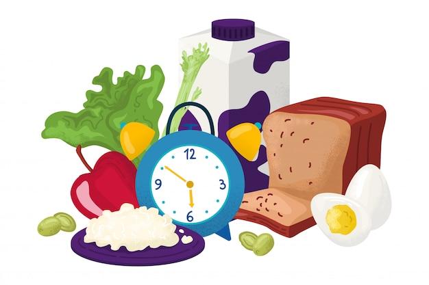 Gesundes frühstück für gourmetillustration. frische produkte für ihren morgendlichen snack. leckeres essen, milch, obst, brot auf dem tisch. organische ernährung nützlicher lebensstil. natürlicher rustikaler look.