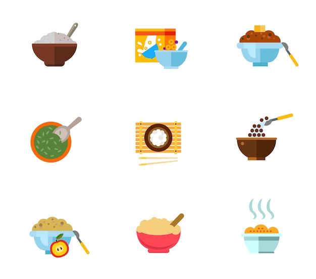 Gesundes frühstück icon set