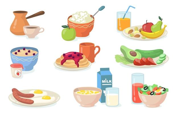 Gesundes frühstück mahlzeiten eingestellt. flache illustration