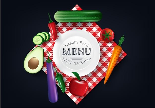 Gesundes gemüse und vegetarische lebensmittel banner