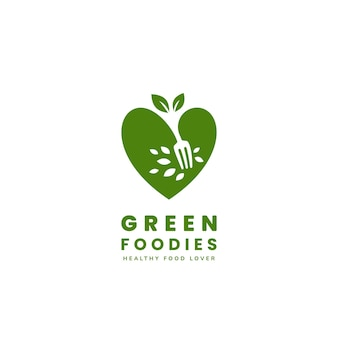 Gesundes grünes veganes essen-liebhaber-logo vegetarisches feinschmecker-logo-symbol