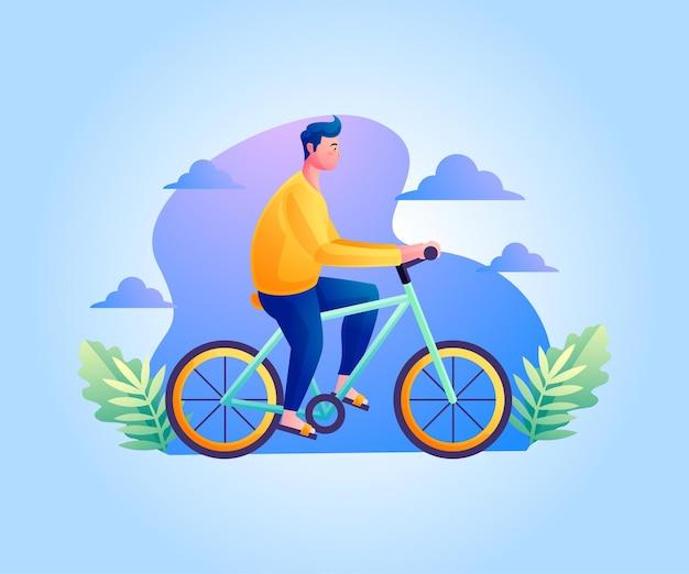 Gesundes leben ein mann, der fahrrad fährt
