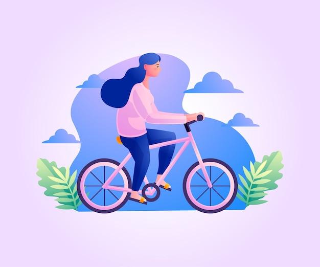 Gesundes leben eine frau, die fahrrad fährt