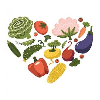 Gesundes leben - herzform mit gemüse. gemüsesymbole für gesundes essen oder bio-lebensmittelkonzept. beinhaltet tomaten, mais, karotten und mehr. flache illustration.