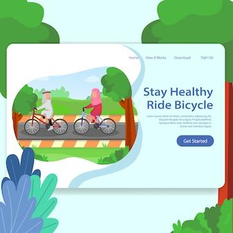 Gesundes leben landing page illustration mann und frau zusammen fahrrad fahren