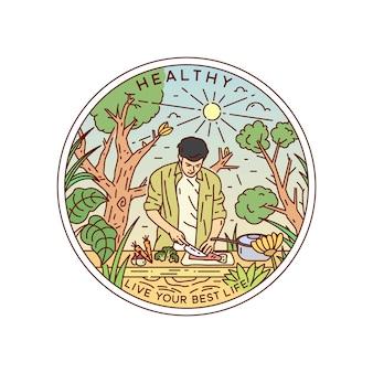 Gesundes leben vintage monoline badge