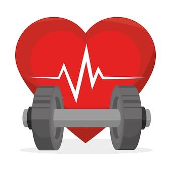 Gesundes lebendesign der sporteignung lokalisiert Premium Vektoren
