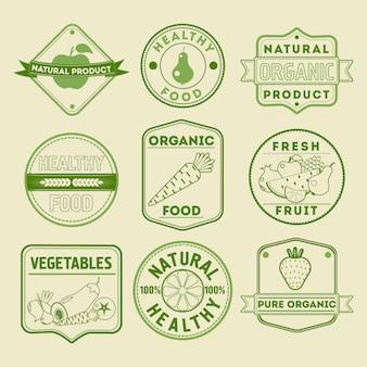 Gesundes lebensmittel abzeichen logos obst gemüse