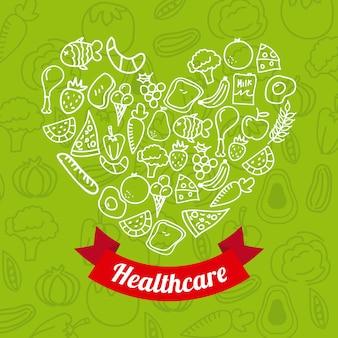 Gesundes lebensmittel über grüner hintergrundvektorillustration