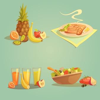 Gesundes lebensmittel und getränkekarikatursatz