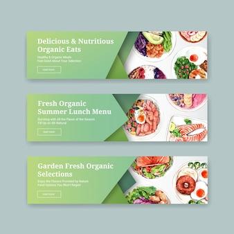 Gesundes lebensmittelfahnenschablonenentwurf für gutschein, anzeigenaquarell