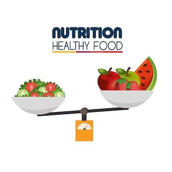 Gesundes lebensmittelikonenvektorillustrationsdesign der nahrung