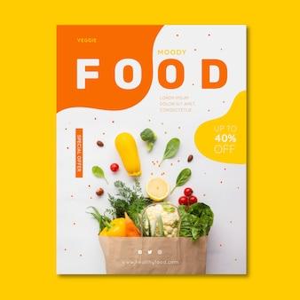 Gesundes lebensmittelrestaurantplakat mit foto