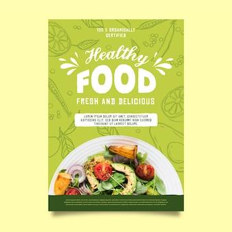 Gesundes lebensmittelrestaurantplakatschablone
