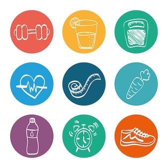 Gesundes lebensstilikonenkonzept mit ikonendesign