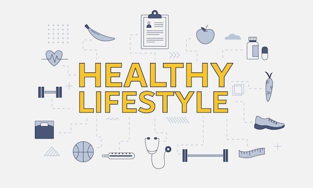 Gesundes lebensstilkonzept mit symbolsatz mit großem wort oder text in der mitte