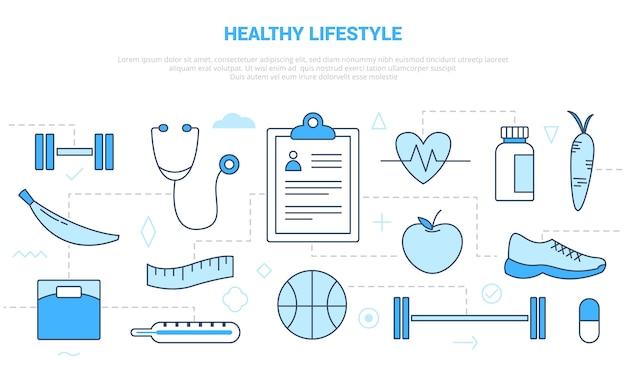 Gesundes lebensstilkonzept mit symbolsatzschablone mit modernem blauem farbstil