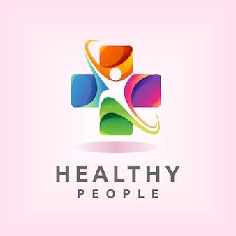 Gesundes logo mit menschenkonzept