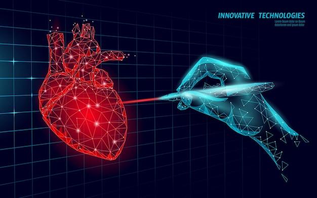 Gesundes menschliches herz schlägt 3d medizinmodell low poly