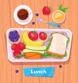 Gesundes mittagessen mit banane. beeren, sandwich, kaffee und saft. blick von oben auf stilvollen holztisch mit kopierraum. illustration.
