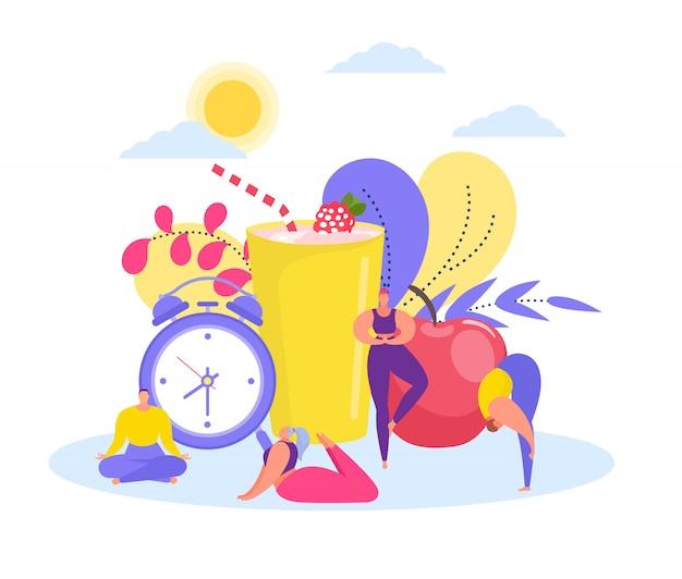 Gesundes morgenkonzept mit männern und frauen, die sich aufwärmen, yoga-asanas halten, morgenübungen, riesigen wecker, apfel- und fruchtgetränkillustration.