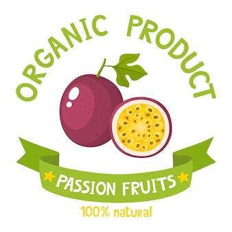 Gesundes organisches fruchtabzeichen der frischen bauernhof-passionsfrucht mit bandfahnen lokalisiert auf weißem hintergrund. illustration des cartoons