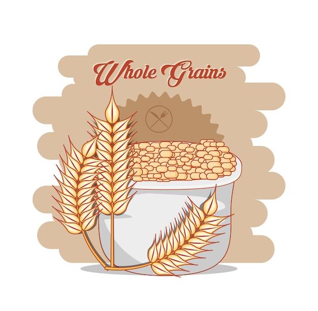 Gesundes produktvektor-illustrationsdesign des ganzen kornes