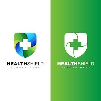 Gesundes schild-logo, schützen sie ihre gesundheitsgradienten-logo-vorlage