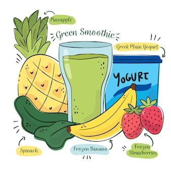 Gesundes smoothie-rezept mit früchten