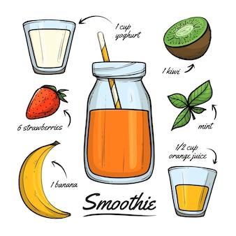 Gesundes smoothie-rezept mit kiwi