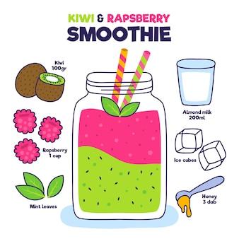 Gesundes smoothie-rezeptkonzept Kostenlosen Vektoren