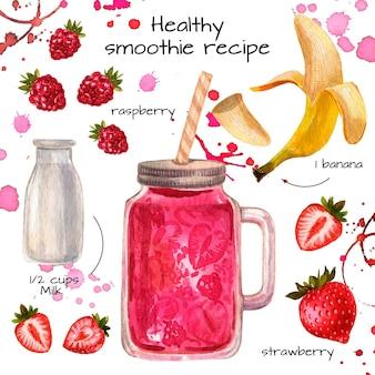 Gesundes smoothie-rezeptkonzept
