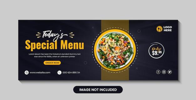 Gesundes und frisches salatmenü social media cover banner design premium-vektor