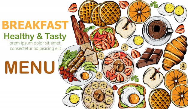 Gesundes und leckeres frühstück mit mehreren speisen und getränken
