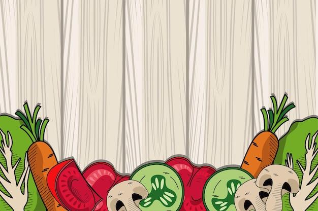 Gesundes und vegetarisches essen im hölzernen hintergrund