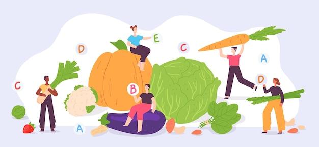 Gesundes veganes essen. winzige leute mit gemüse und obst. frische landwirtschaftliche produkte. flache vegetarische männer und frauen auf vitamindiät-vektorkonzept. illustration pflanzliches essen, gesunde vegane ernährung