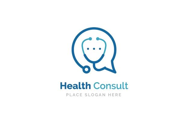 Gesundheit konsultieren logo-design-vorlage. stethoskop isoliert auf bubble-chat-symbol