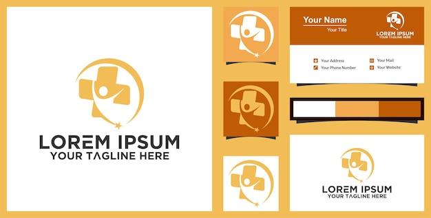 Gesundheit medizinisches logo und visitenkarteninspiration premium-vektor