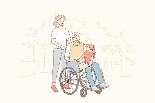 Gesundheit, pflege, behinderung, medizin, familie, liebeskonzept