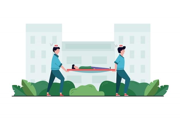 Gesundheit, pflege, medizin, teamwork, hilfskonzept. sanitäterteam von ärztinnen des jungen mannes, die mit verletztem krankem patienten auf trage zum krankenwagen bewegen. leben retten oder notfallunfall anrufen.